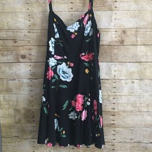 Old Navy Black Floral Print Fit & Flare Dress NWT